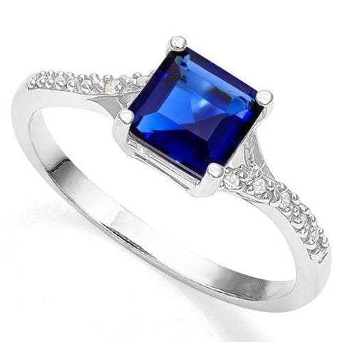 1 1/2 CARAT CREATED BLUE SAPPHIRE & CREATED WHITE SAPPHIRE 925 STERLING SILVER RING wholesalekings wholesale silver jewelry