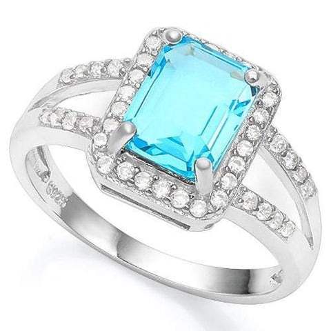 1 1/2 CARAT CREATED BLUE TOPAZ &  1/5 CARAT CREATED WHITE SAPPHIRE 925 STERLING - Wholesalekings.com