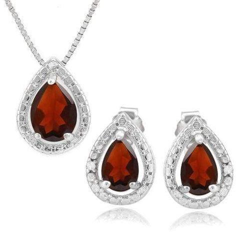 1 1/2 CARAT GARNET & DIAMOND 925 STERLING SILVER JEWELRY SET wholesalekings wholesale silver jewelry