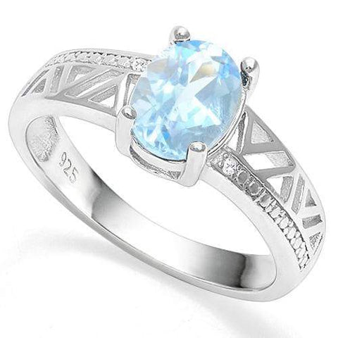 1 1/2 CT BABY SWISS BLUE TOPAZ   925 STERLING SILVER RING - Wholesalekings.com