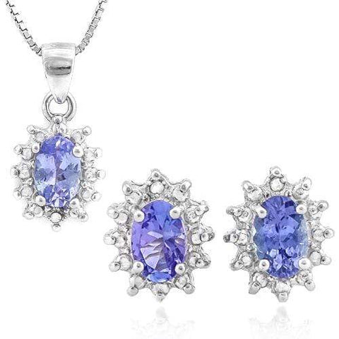 1 1/3 CARAT TANZANITE & DIAMOND 925 STERLING SILVER JEWELRY SET - Wholesalekings.com