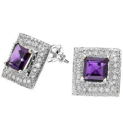 1 1/5 CARAT AMETHYST  925 STERLING SILVER EARRINGS - Wholesalekings.com