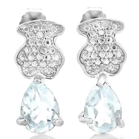 1 1/5 CARAT AQUAMARINE   925 STERLING SILVER EARRINGS wholesalekings wholesale silver jewelry