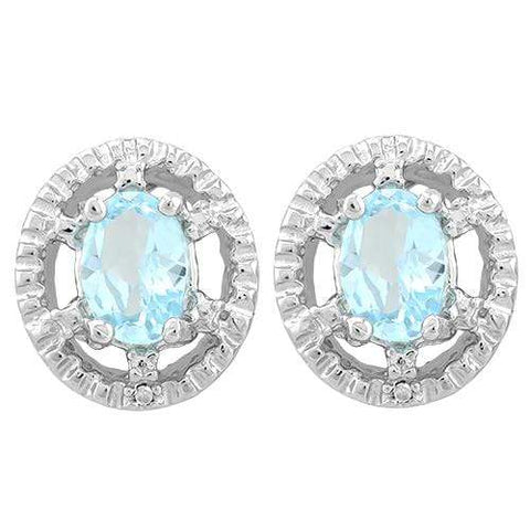 1 1/5 CARAT BABY SWISS BLUE TOPAZ   925 STERLING SILVER EARRINGS - Wholesalekings.com