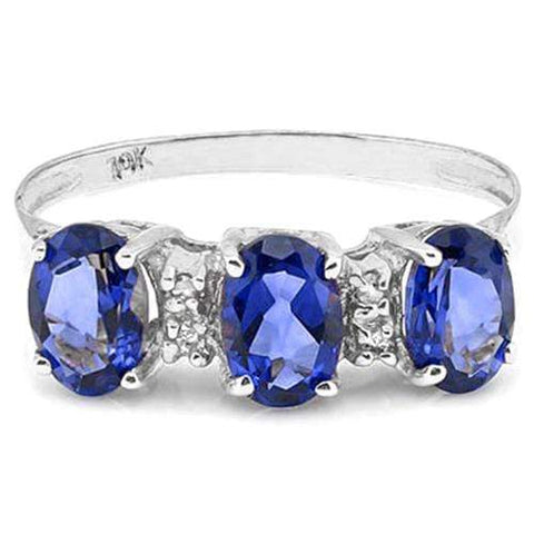 1.13 CT GENUINE TANZANITE & 4 PCS WHITE DIAMOND 10K SOLID WHITE GOLD RING - Wholesalekings.com