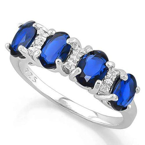 1 2/3 CARAT CREATED BLUE SAPPHIRE & GENUINE DIAMOND 925 STERLING SILVER RING - Wholesalekings.com