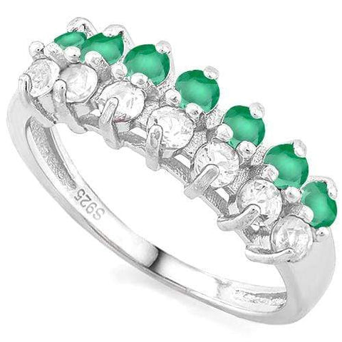 1/2 CT EMERALD & 1/2 CREATED WHITE TOPAZ 925 STERLING SILVER BAND RING - Wholesalekings.com