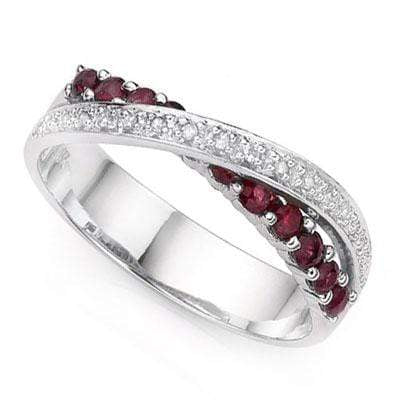 1/2 CT GENUINE RUBY & DIAMOND 925 STERLING SILVER BAND RING - Wholesalekings.com
