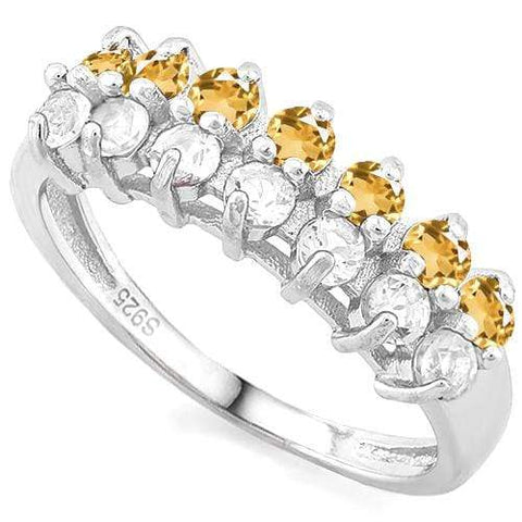 1/2 CT YELLOW SAPPHIRE & 1/2 CREATED WHITE TOPAZ 925 STERLING SILVER BAND RING - Wholesalekings.com
