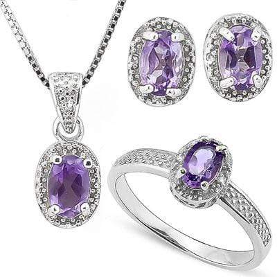 1 3/4 CARAT AMETHYST & DIAMOND 925 STERLING SILVER JEWELRY SET - Wholesalekings.com