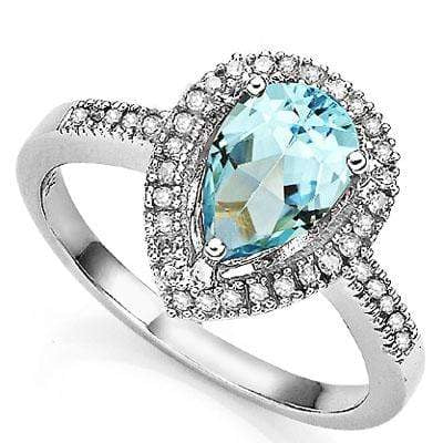 1.49 CT BABY SWISS BLUE TOPAZ & DIAMOND 925 STERLING SILVER RING - Wholesalekings.com