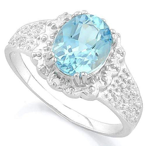 1 3/5 CT BABY SWISS BLUE TOPAZ & DIAMOND 925 STERLING SILVER RING - Wholesalekings.com