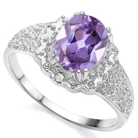 1 3/5 CT LAB ALEXANDRITE; DIAMOND 925 STERLING SILVER RING - Wholesalekings.com