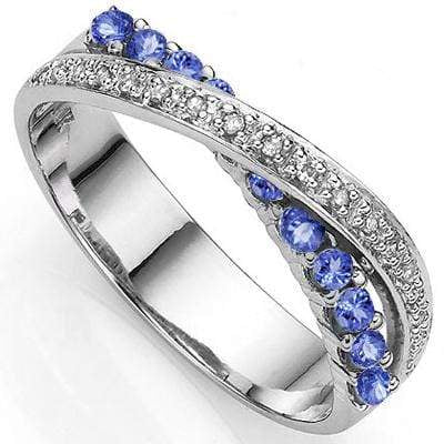 1/3 CT GENUINE TANZANITE & DIAMOND 925 STERLING SILVER BAND RING - Wholesalekings.com