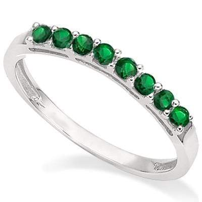 1/4 CT GENUINE EMERALD 925 STERLING SILVER BAND RING - Wholesalekings.com