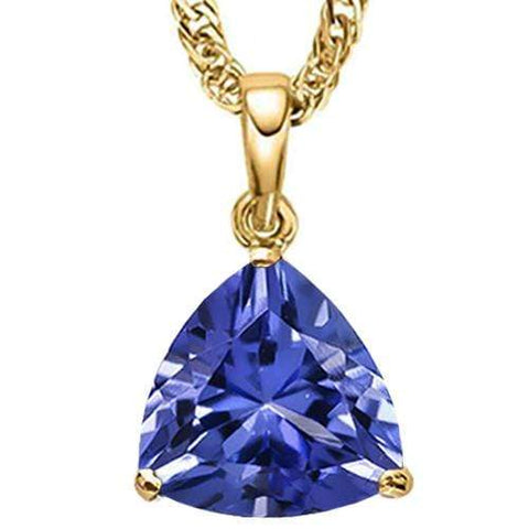 1.49 CT LAB TANZANITE 10KT SOLID GOLD PENDANT - Wholesalekings.com