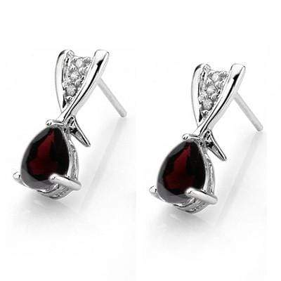 1 CARAT GARNET   925 STERLING SILVER EARRINGS - Wholesalekings.com