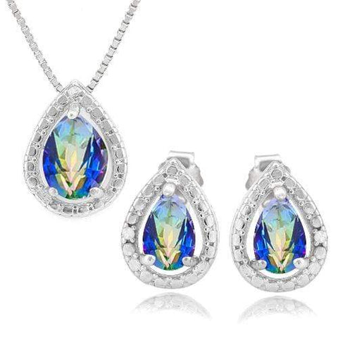 1 CARAT OCEAN MYSTIC GEMSTONE & DIAMOND 925 STERLING SILVER JEWELRY SET - Wholesalekings.com