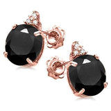100% SOLID 10KR ROSE GOLD ROUND SHAPE MIDNIGHT BLUE SAPPHIRE AND 6 DIAMONDS EARRINGS STUD - Wholesalekings.com