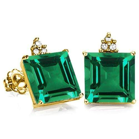 100%  SOLID 10KT YELLOW GOLD PRINCESS SHAPE 1.80 CREATED EMERALD  AND 6 DIAMONDS EARRINGS STUD - Wholesalekings.com