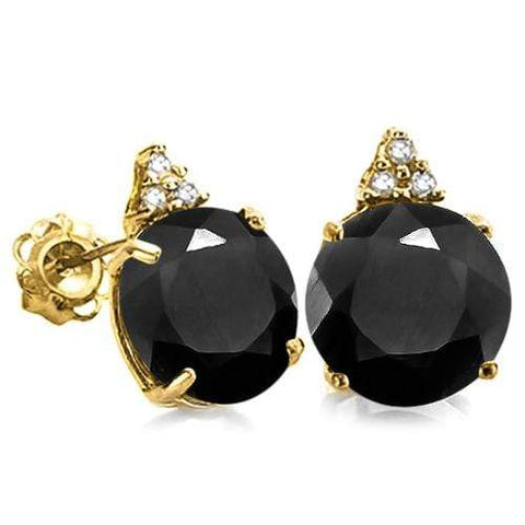 100% SOLID 10KT YELLOW GOLD ROUND SHAPE MIDNIGHT BLUE SAPPHIRE  AND 6 DIAMONDS EARRINGS STUD - Wholesalekings.com