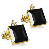 100% SOLID 10KT YELLOW GOLD PRINCESS SHAPE MIDNIGHT BLUE SAPPHIRE AND 6 DIAMONDS EARRINGS STUD - Wholesalekings.com