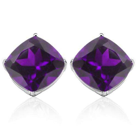 10K Solid White Gold Cushion shape 10MM AMETHYST Earring Studs - Wholesalekings.com
