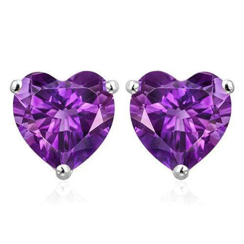 10K Solid White Gold Heart shape 6MM AMETHYST Earring Studs - Wholesalekings.com