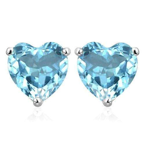 10K Solid White Gold Heart shape 6MM  SWISS BLUE TOPAZ Earring Studs - Wholesalekings.com