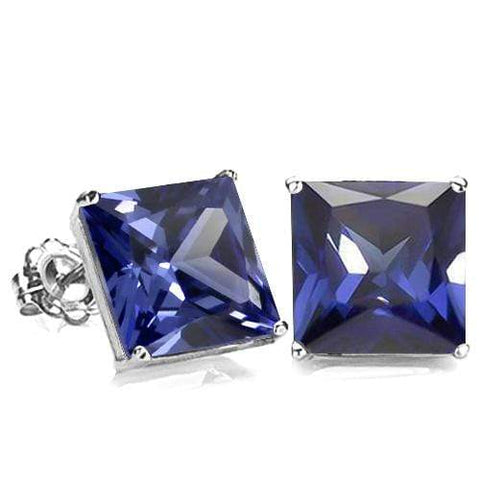 10K Solid White Gold Square shape 6MM LAB TANZANITE Earring Studs - Wholesalekings.com