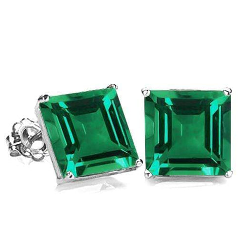 10K Solid White Gold Square shape 6MM RUSSIAN EMERALD Earring Studs - Wholesalekings.com