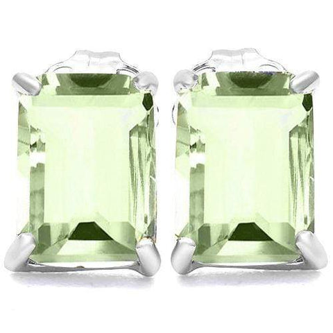 10K Solid White GoldOctagon shape 5*7MM GREEN AMETHYST Earring Studs - Wholesalekings.com