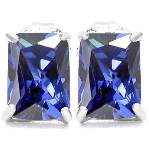 10K Solid White GoldOctagon shape 5*7MM LAB TANZANITE Earring Studs - Wholesalekings.com