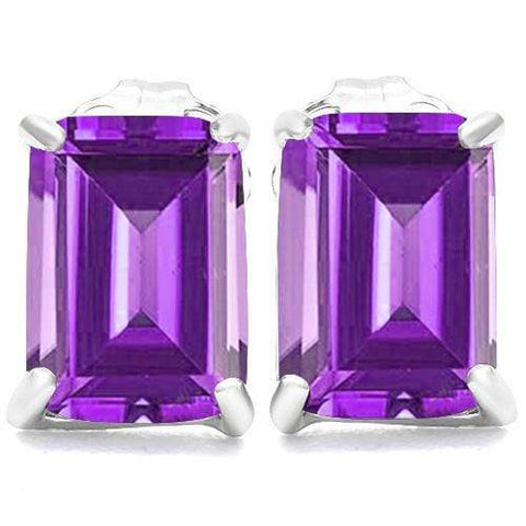 10K Solid White GoldOctagon shape 5*7MM Natural Amethyst Earring Studs - Wholesalekings.com