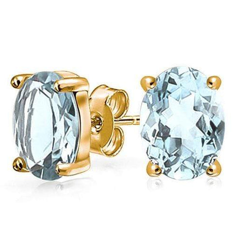10K Solid Yellow Gold Oval shape 5*7MM Natural Aquamarine Earring Studs wholesalekings wholesale silver jewelry