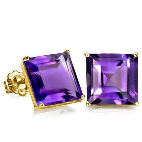 10K Solid Yellow Gold Square shape 6MM AMETHYST Earring Studs - Wholesalekings.com