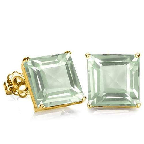 10K Solid Yellow Gold Square shape 6MM GREEN AMETHYST Earring Studs - Wholesalekings.com