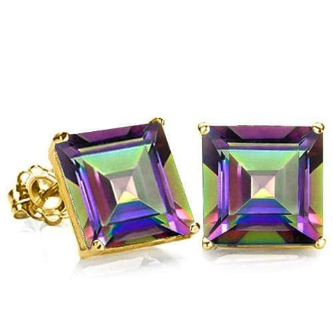 10K Solid Yellow Gold Square shape 6MM MYSTIC GEMSTONE  Earring Studs - Wholesalekings.com