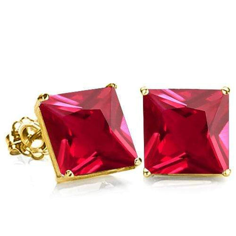 10K Solid Yellow Gold Square shape 6MM  RUSSIAN RUBY Earring Studs - Wholesalekings.com