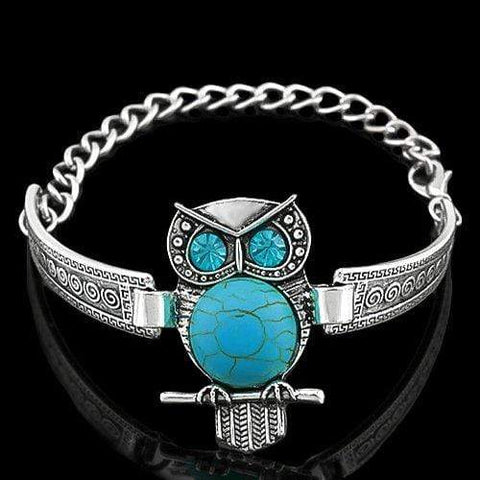 14KT High Quality white-gold plated fashion turquoise German Silver bracelet - Wholesalekings.com