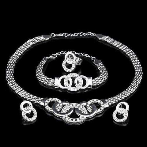 14KT High Quality white-gold plated White Zicron Handcuffs Fashion German Silver Necklace Earring Bracelet Ring Jewelry Set wholesalekings wholesale silver jewelry