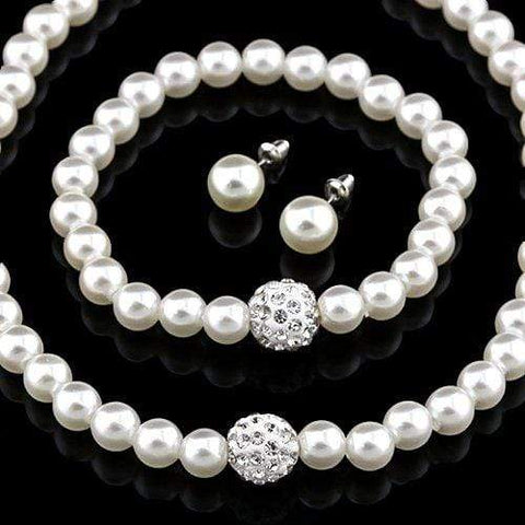 14KT High Quality white gold-plated white Zicron Necklace Earring bracelet Pearl German Silver Jewelry Set wholesalekings wholesale silver jewelry