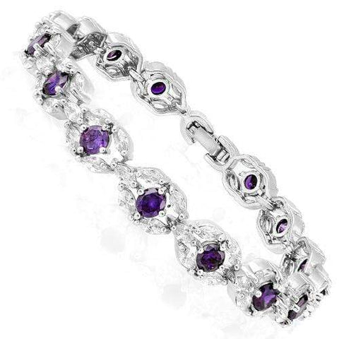15 CARATS ( 60 PCS ) CREATED AMETHYSTS &  1 CARATS (15 PCS) CREATED WHITE SAPPHIRES BRACELET ( Length: 7-7.5inches) wholesalekings wholesale silver jewelry