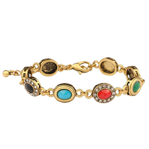 18k Gold Emerald Ruby Stone Halo Vintage Bracelet for Women - Wholesalekings.com
