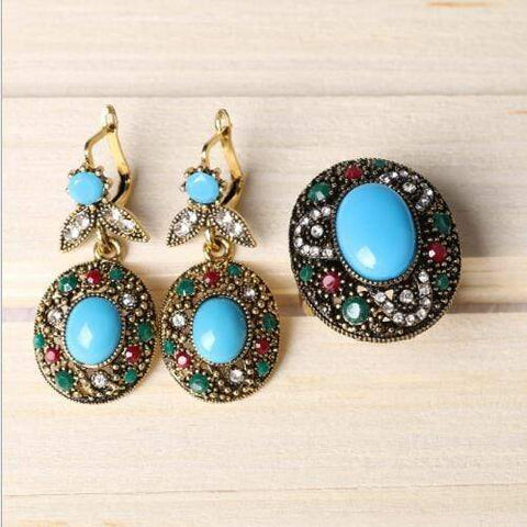 18K GOLD PLATED CREATED TURQUOISE JEWELRY SET - Wholesalekings.com