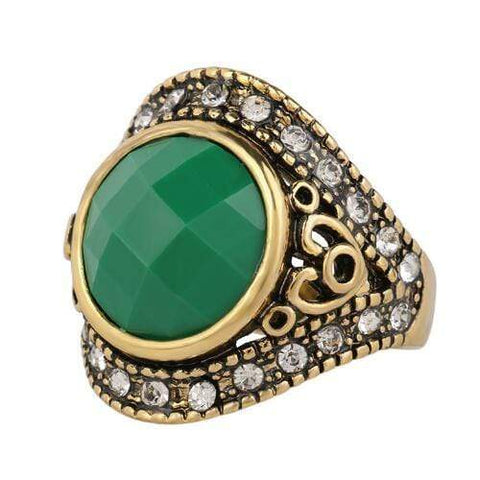 18K GOLD PLATED GREEN STONE RETRO STYLE RING - Wholesalekings.com