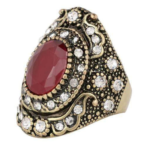 18K GOLD PLATED RED STONE FASHION RING - Wholesalekings.com