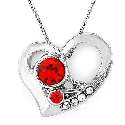 18K White Gold-Plated Heart Shape Red Stone German Silver Pendant Charm - Wholesalekings.com