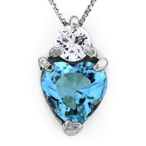 18K White Gold-Plated Solitaire Heart Shape Light Blue Stone German Silver Pendant Charm wholesalekings wholesale silver jewelry