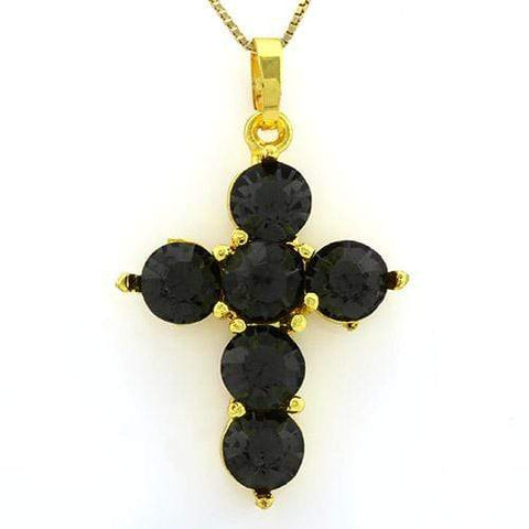 18K Yellow Gold-Plated Flower Cut Shape Dark Green Color Stone German Silver Pendant Charm - Wholesalekings.com
